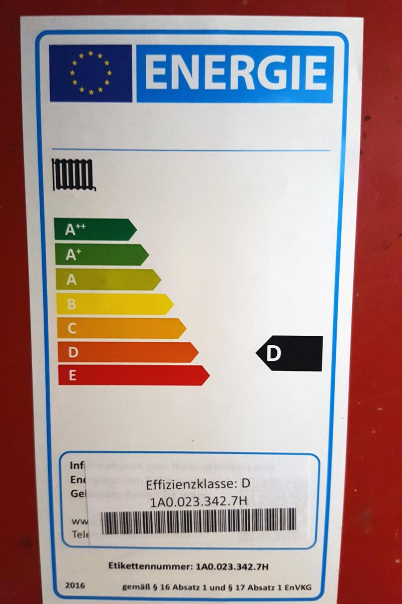 Energie-Lable Heizung Effiziensklasse D